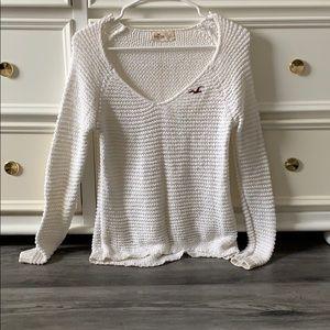 White V-Neck Hollister Sweater
